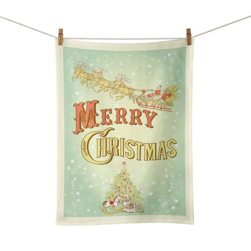 Merry Christmas Tea Towel - Vintage Design